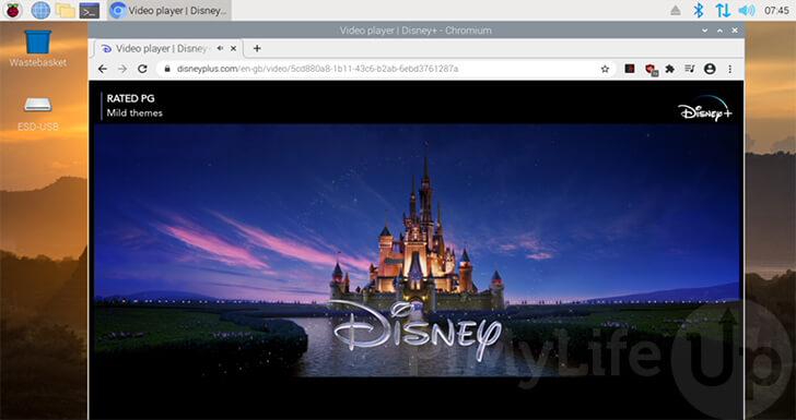 Disney Plus ejecutándose en Raspberry Pi