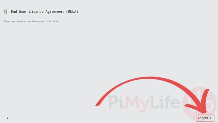 Acepte EULA para Android TV en Raspberry Pi