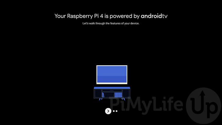 Pantalla de bienvenida de Raspberry Pi Android TV