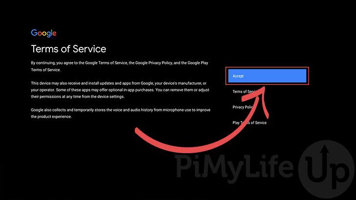 Acepta las Condiciones de servicio de Google.