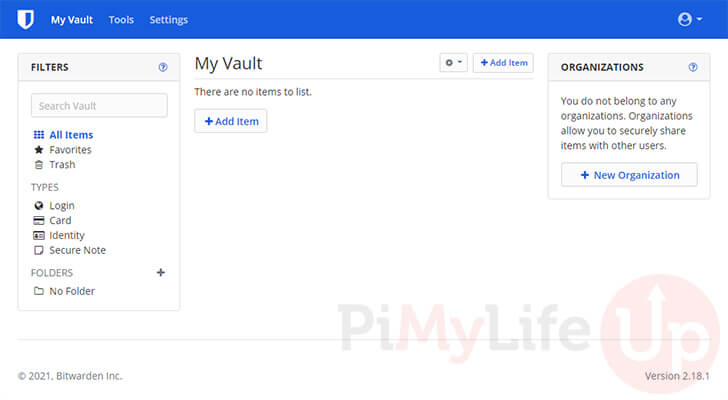 Interfaz web de Raspberry Pi Bitwarden Vault