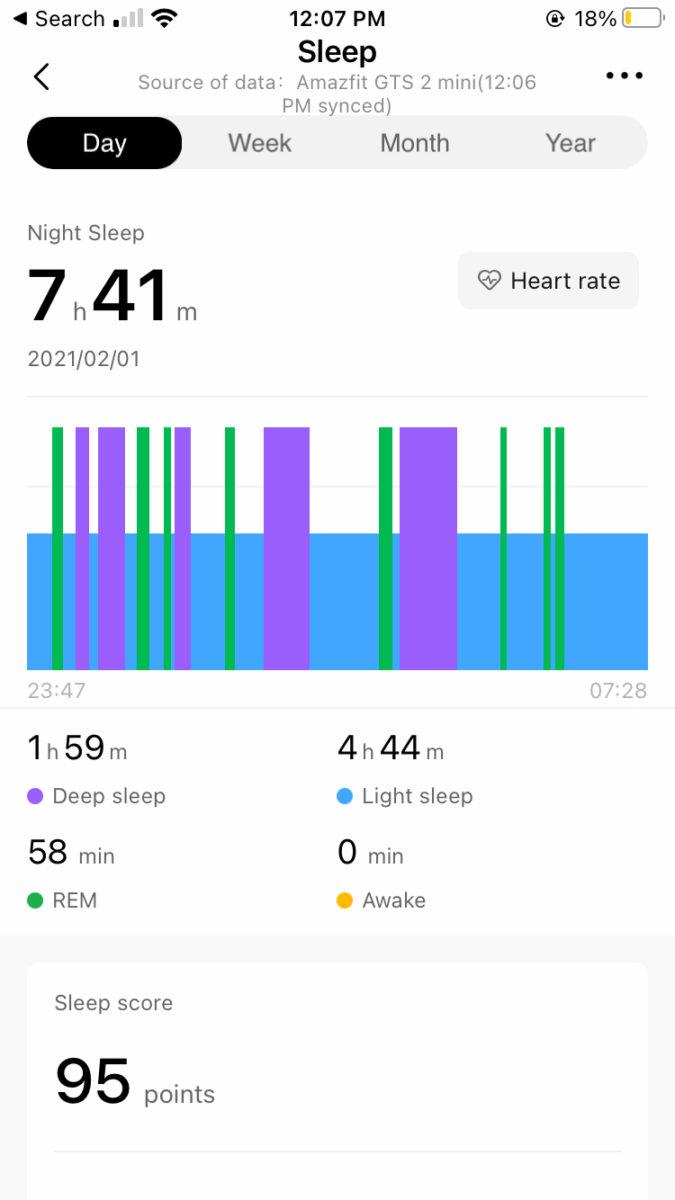 Amazfit GTS 2 Mini análisis del sueño