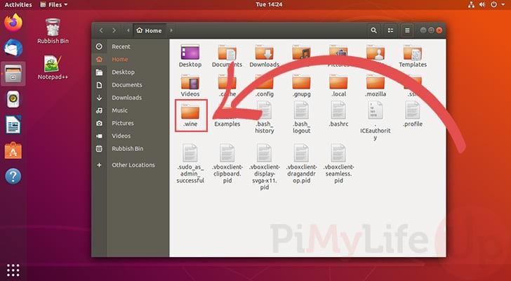 Abra el directorio de vinos ocultos en Ubuntu