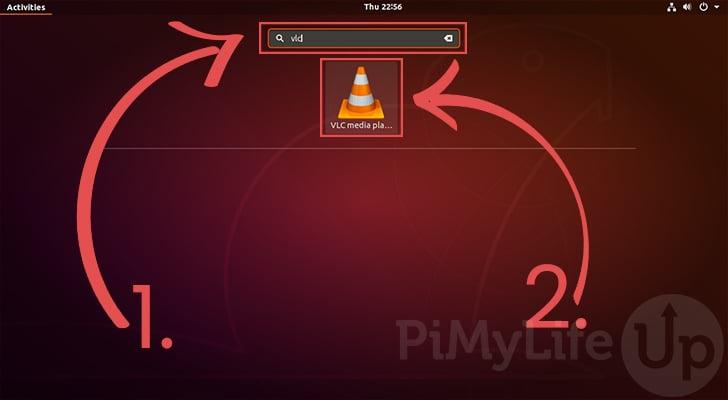 Busque VLC Media Player en la pantalla Actividades de Ubuntu