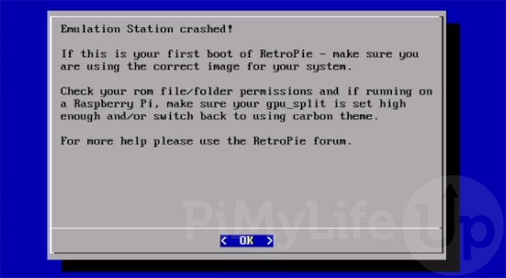 Error de bloqueo de RetroPie EmulationStation